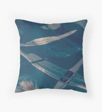 Feathers floating in the air Throw Pillow