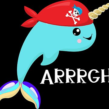 Narwhal Pirate Red and blue tones by riverportgifts