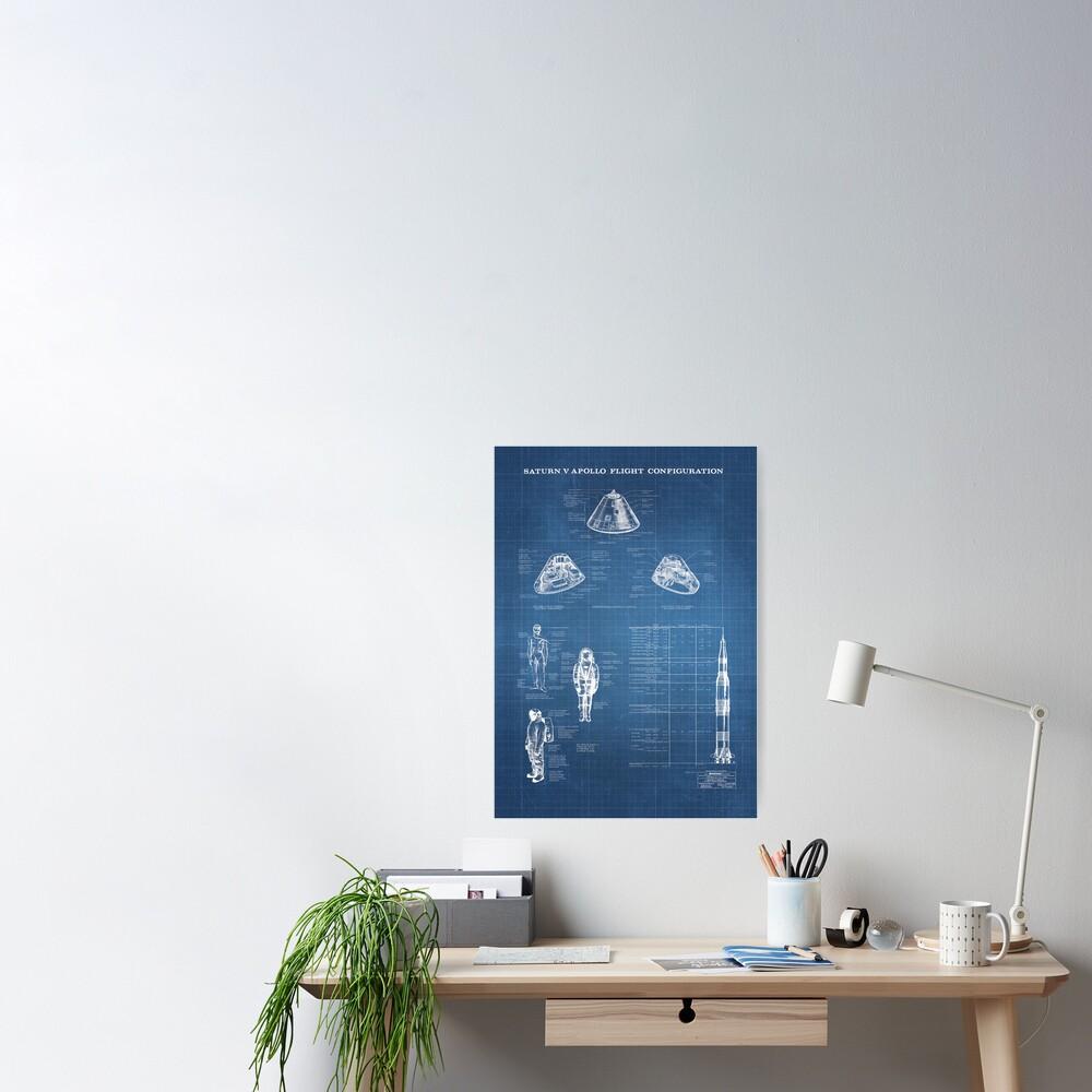 Apollo Saturn V Command Module Blueprint in High Resolution (light blue) Poster