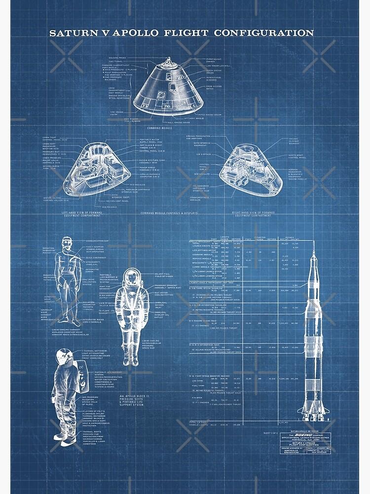 Apollo Saturn V Command Module Blueprint in High Resolution (light blue) by RHorowitz