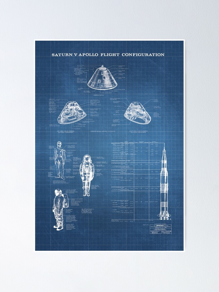 Alternate view of Apollo Saturn V Command Module Blueprint in High Resolution (light blue) Poster