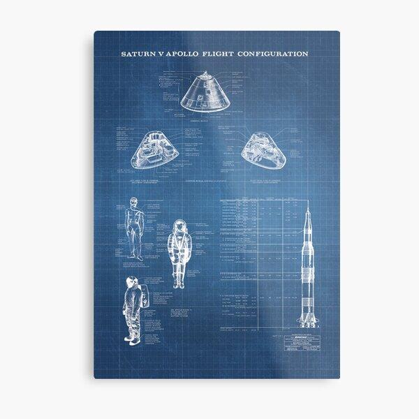 Apollo Saturn V Command Module Blueprint in High Resolution (light blue) Metal Print