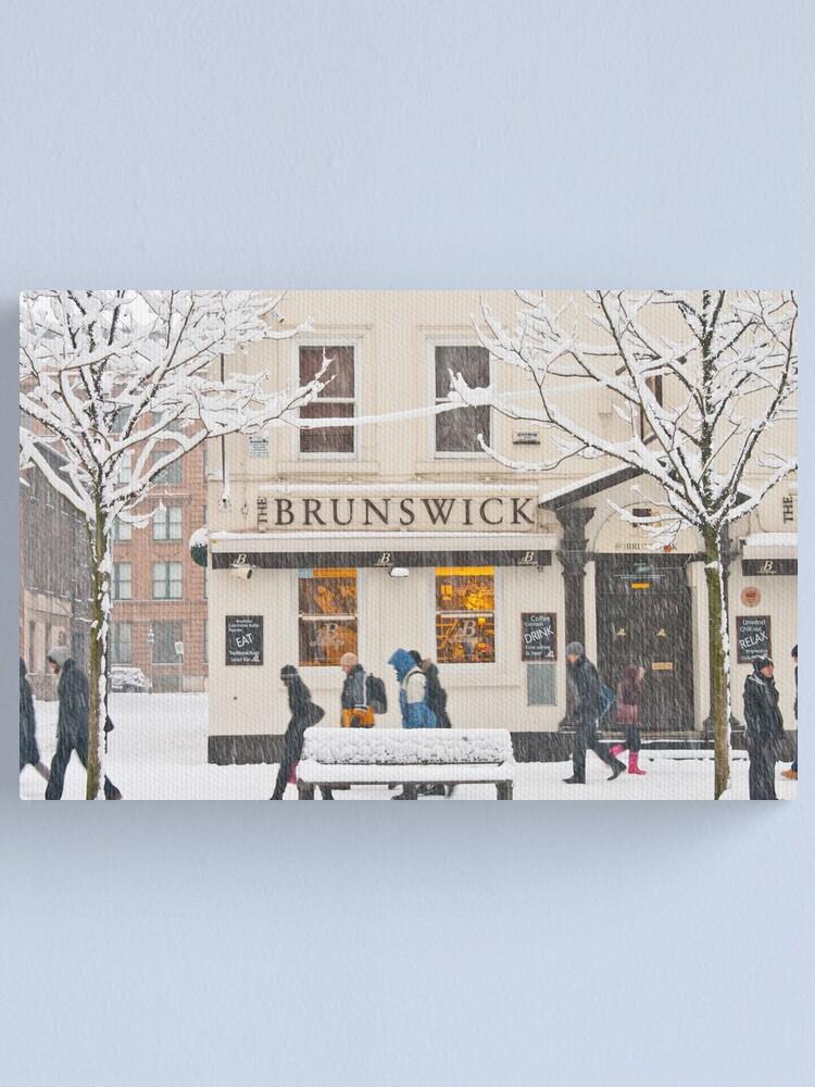 Alternate view of The Brunswick pub under the snow Canvas Print