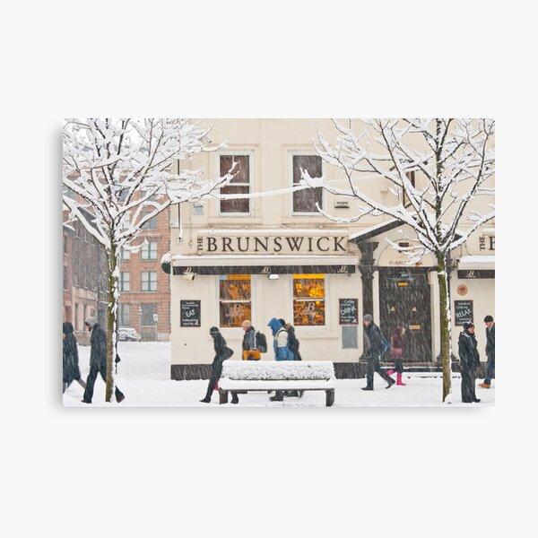The Brunswick pub under the snow Canvas Print