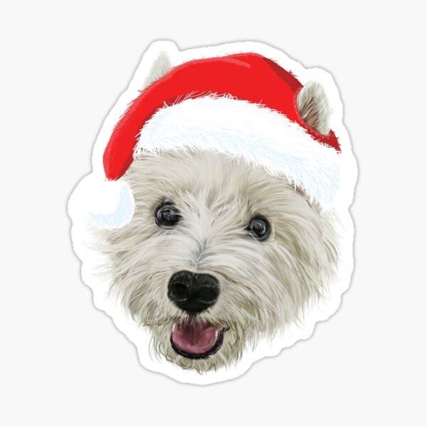 West Highland Terrier Christmas Santa Hat  Sticker