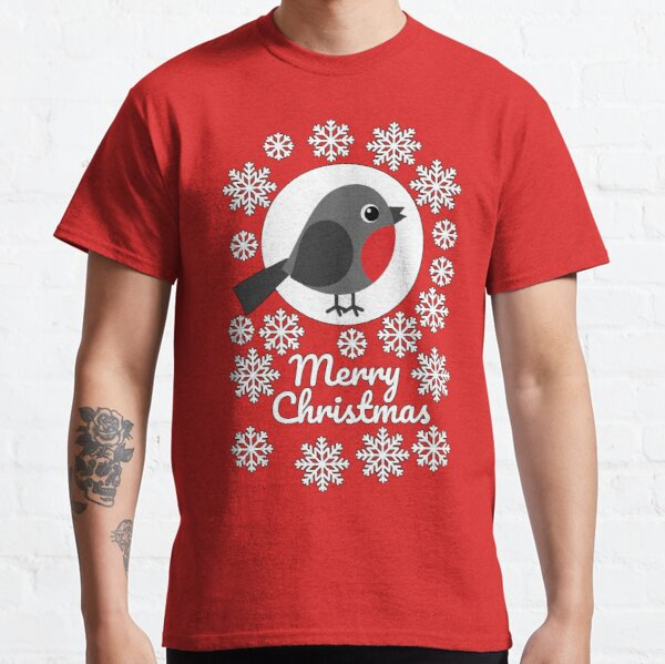 Merry Christmas Robin Snowflakes Classic T-Shirt