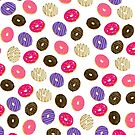 Modern cute pastel hand drawn donuts pattern food illustration by Girly Trend by GirlyTrend