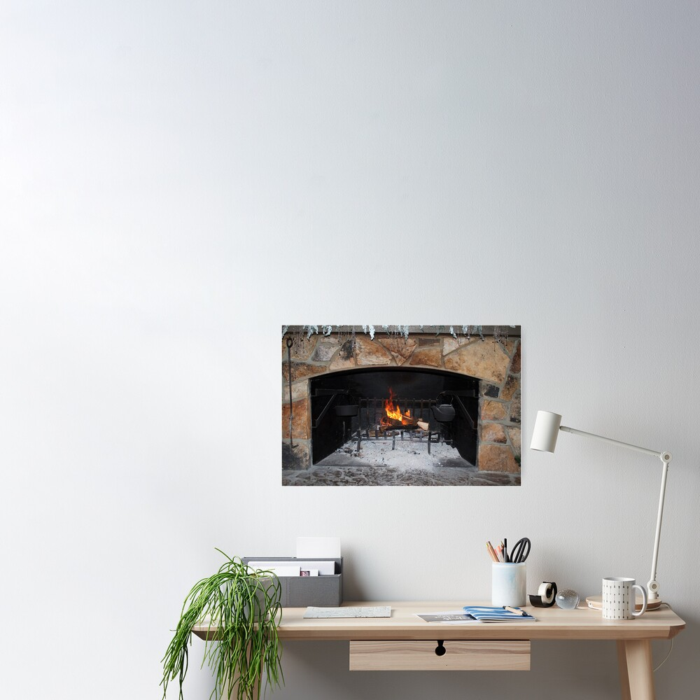 Warm And Cozy Fireplace Poster