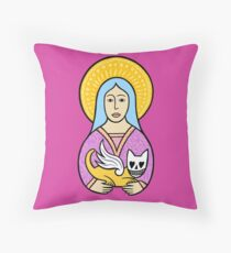 Ladies love the devil cats Throw Pillow