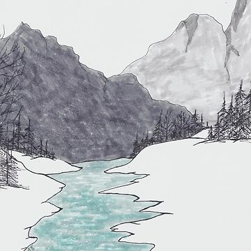 Simple ink and marker drawing of Stream, trees, mountains by RiseAndConquer