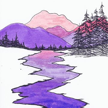 Landscape drawing of mountains, river,hills, and trees using ink and markers. by RiseAndConquer