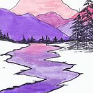 Landscape drawing of mountains, river,hills, and trees using ink and markers. by Brooke Simpson