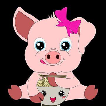 Send Noods Pig Kawaii Ramen Noodle Lover by Basti09
