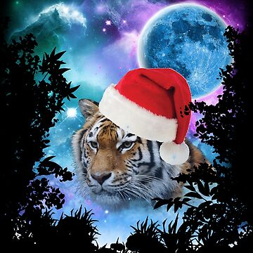 Santa Tiger MidNight Forest by ratherkool