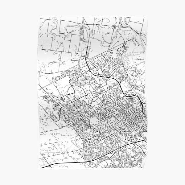 Kitchener Map Waterloo Art Kitchener-Waterloo City Map Poster Typography Map