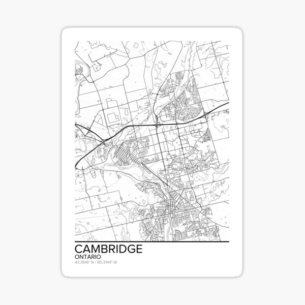 Cambridge map poster print wall art, Ontario gift printable, Home and Nursery, Modern map decor for office, Map Art, Map Gifts Sticker