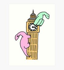 Dinosaurs on Big Ben Art Print