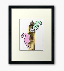 Dinosaurs on Big Ben Framed Print