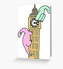 Dinosaurs on Big Ben Greeting Card