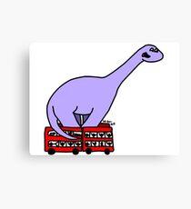 Dinosaur on 4 Double Decker Buses Canvas Print