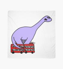 Dinosaur on 4 Double Decker Buses Scarf