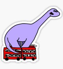 Dinosaur on 4 Double Decker Buses Sticker
