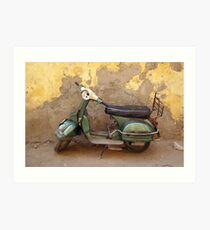 Moped against the wall Art Print