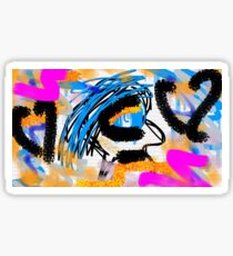 Abstract: Blue Hair Person Sticker