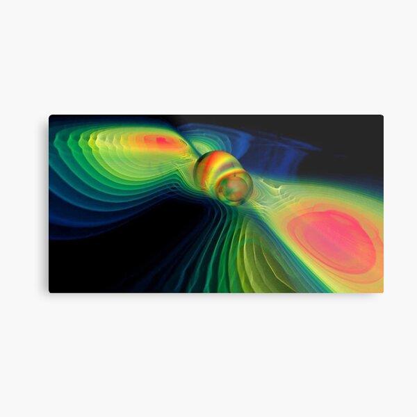 #ComputerSimulation, #signals #GravitationalWaves #MergingBlackHoles #BlackHoles #Компьютерноемоделирование #черныедыры #abstract #design #bright #illustration #rainbow #pattern #motion #shape #art Metal Print