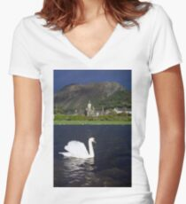 The Swan and the Storm Women's Fitted V-Neck T-Shirt