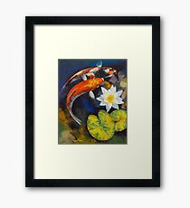 Koi Fish and Water Lily Framed Print