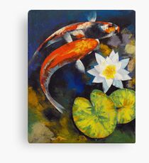 Koi Fish and Water Lily Canvas Print
