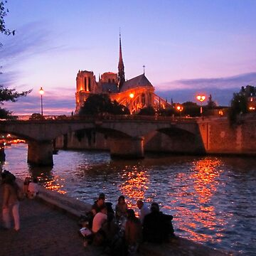 Notre Dame Cathedral and Seine River at Night by Johnhalifax