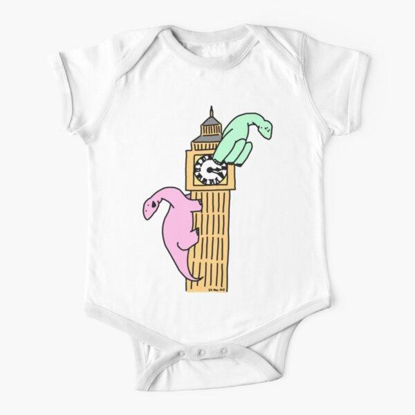 Dinosaurs on Big Ben Short Sleeve Baby One-Piece