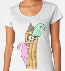 Dinosaurs on Big Ben Women's Premium T-Shirt