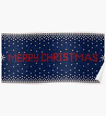 Merry Christmas knitting seamless pattern background Poster