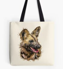 Painted Wolf with Paint Splatter Artwork Tote Bag
