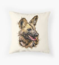 Painted Wolf with Paint Splatter Artwork Throw Pillow