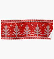 Red knitting seamless pattern background with christmas trees and snowflakes Poster
