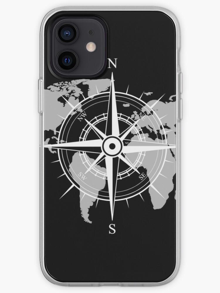 Boussole | Carte du monde | idée cadeau | Coque iPhone