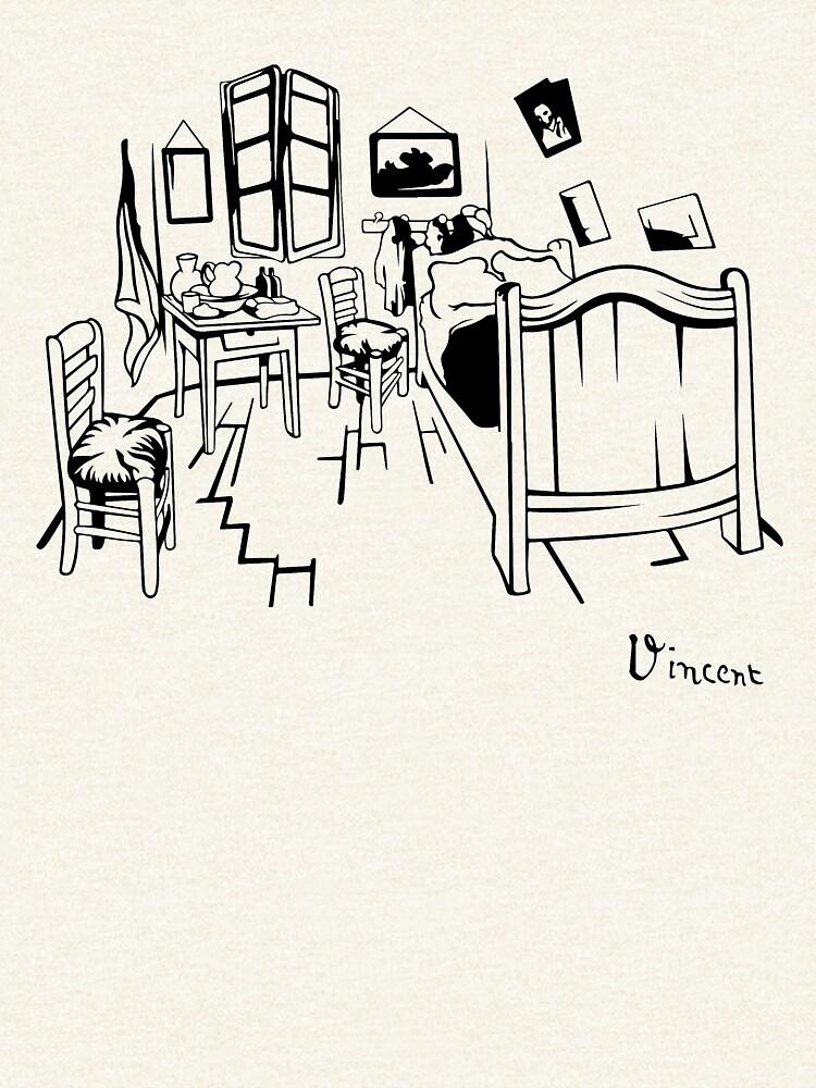 Van Gogh - The Bedroom, 1888, T-Shirt, Kunstwerkreproduktion, T-Shirts, Taschen, Poster, Drucke, Männer, Frauen, Kinder von clothorama