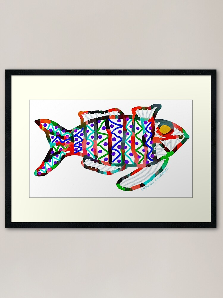 Alternate view of Colorful Abstract Fish in Yellow and Black  Framed Art Print