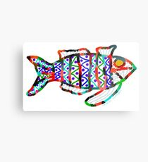 Colorful Abstract Fish in Yellow and Black  Metal Print