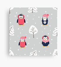Pattern with cute cartoon penguins pine tree and snow Canvas Print