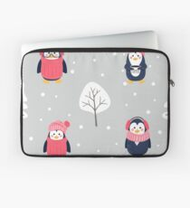 Pattern with cute cartoon penguins pine tree and snow Laptop Sleeve
