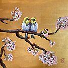 Baby Birds in a Blossom Tree by Julie Ann Accornero