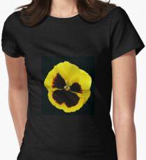 Glowing Yellow Pansy on Black Background T-Shirt
