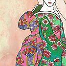 Sitzende Geisha mit strukturiertem Hintergrund von kennasato