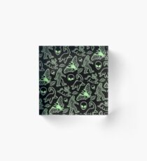 Cryptid Pattern (Green Lines) -   Acrylic Block