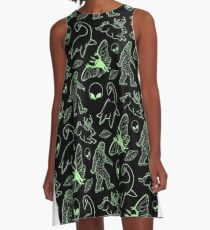 Cryptid Pattern (Green Lines) -   A-Line Dress